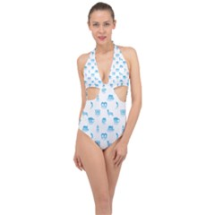 Oktoberfest Bavarian October Beer Festival Motifs In Bavarian Blue Halter Front Plunge Swimsuit by PodArtist
