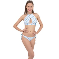 Oktoberfest Bavarian October Beer Festival Motifs In Bavarian Blue Cross Front Halter Bikini Set by PodArtist