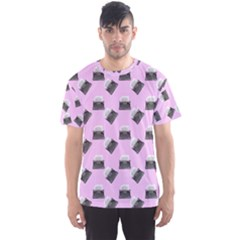 Retro Typewriter Pink Pattern Men s Sports Mesh Tee