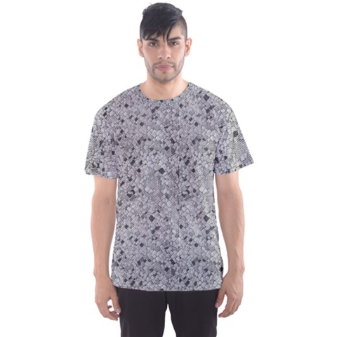 Cracked Texture Abstract Print Men s Sports Mesh Tee by dflcprints