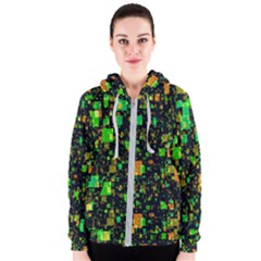 Squares And Rectangles Background Women s Zipper Hoodie