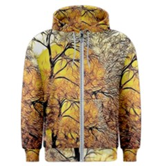 Summer Sun Set Fractal Forest Background Men s Zipper Hoodie