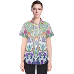 Wallpaper Created From Coloring Book Women s Short Sleeve Shirt