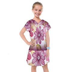 Print Fabric Pattern Texture Kids  Drop Waist Dress by Sapixe