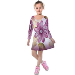 Print Fabric Pattern Texture Kids  Long Sleeve Velvet Dress by Sapixe