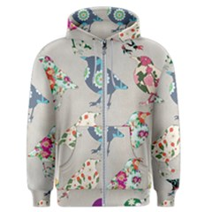 Birds Floral Pattern Wallpaper Men s Zipper Hoodie by Jojostore