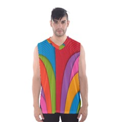 Modern Abstract Colorful Stripes Wallpaper Background Men s Basketball Tank Top
