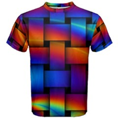 Rainbow Weaving Pattern Men s Cotton Tee by Jojostore