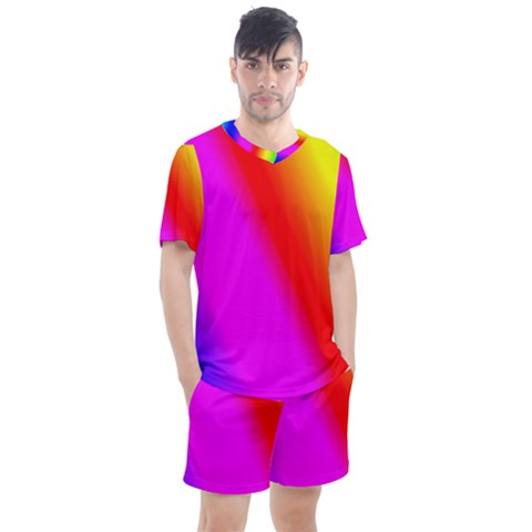 Multi Color Rainbow Background Men s Mesh Tee And Shorts Set by Jojostore
