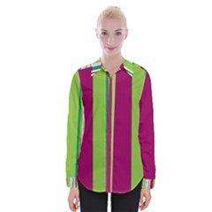 Beautiful Multi Colored Bright Stripes Pattern Wallpaper Background Womens Long Sleeve Shirt by Jojostore