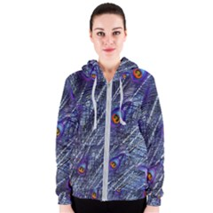 Peacock Feathers Color Plumage Blue Women s Zipper Hoodie