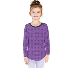 Pattern Spiders Purple And Black Halloween Gothic Modern Kids  Long Sleeve Tee by genx