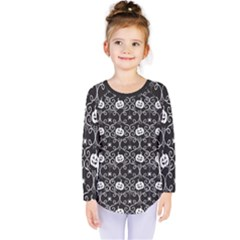 Pattern Pumpkin Spider Vintage Gothic Halloween Black And White Kids  Long Sleeve Tee by genx