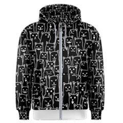 Funny Cat Pattern Organic Style Minimalist On Black Background Men s Zipper Hoodie by genx