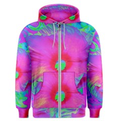 Psychedelic Pink And Red Hibiscus Flower Men s Zipper Hoodie