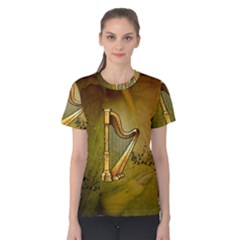 Wonderful Golden Harp On Vintage Background Women s Cotton Tee by FantasyWorld7
