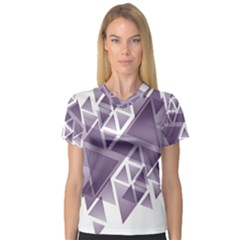 Geometry Triangle Abstract V Neck Sport Mesh Tee