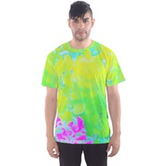 Fluorescent Yellow And Pink Abstract Garden Foliage Men s Sports Mesh Tee