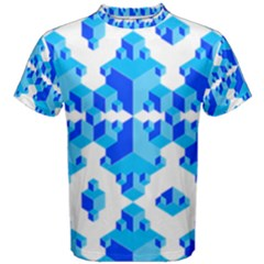 Blue Background Cubes Abstract Wallpapers Men s Cotton Tee
