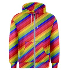 Rainbow Background Colorful Men s Zipper Hoodie by Wegoenart