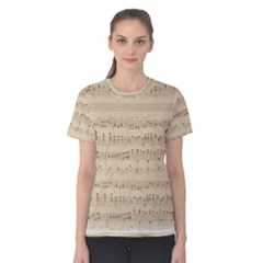 Vintage Beige Music Notes Women s Cotton Tee by Pakrebo