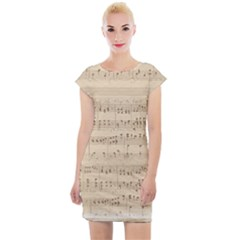 Vintage Beige Music Notes Cap Sleeve Bodycon Dress by Pakrebo
