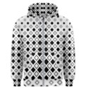 Square Diagonal Pattern Monochrome Men s Zipper Hoodie View1