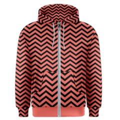 Chevron  Effect In Living Coral Men s Zipper Hoodie by TimelessFashion