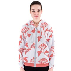Floral In Coral  Women s Zipper Hoodie