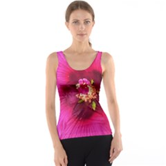 Deep Pink And Crimson Hibiscus Flower Macro Tank Top