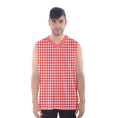 Grid In Living Coral Men s Basketball Tank Top