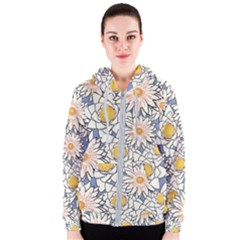 Flowers Pattern Lotus Lily Women s Zipper Hoodie
