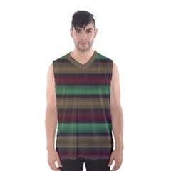 Stripes Green Red Yellow Grey Men s Basketball Tank Top
