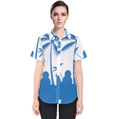 Fresh Blue Coconut Tree Women s Short Sleeve Shirt