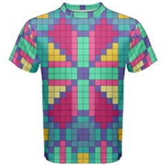 Checkerboard Squares Abstract Men s Cotton Tee by AnjaniArt