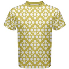 Floral Dot Series   White And Ceylon Yellow Men s Cotton Tee
