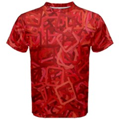 Red Pattern Technology Background Men s Cotton Tee