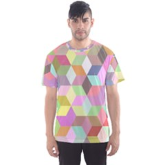 Mosaic Background Cube Pattern Men s Sports Mesh Tee