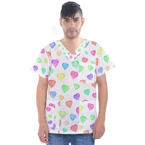 Love Hearts Shapes Men s V Neck Scrub Top by AnjaniArt