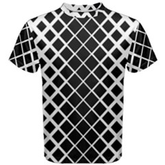Square Diagonal Pattern Black Men s Cotton Tee