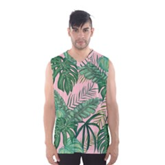 Tropical Greens Leaves Men s Basketball Tank Top
