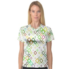 Square Colorful Geometric Style V Neck Sport Mesh Tee