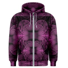 Fractal Magenta Pattern Geometry Men s Zipper Hoodie