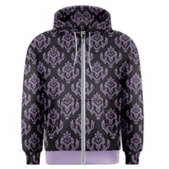 Damask Crocus Petal On Black  Men s Zipper Hoodie by TimelessFashion