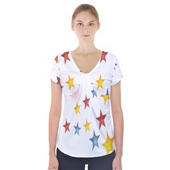 Star Rainbow Short Sleeve Front Detail Top by Alisyart