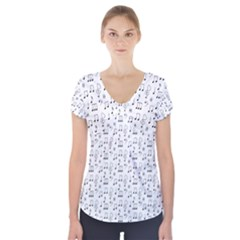 Wallpaper Note Tone Music Short Sleeve Front Detail Top by AnjaniArt