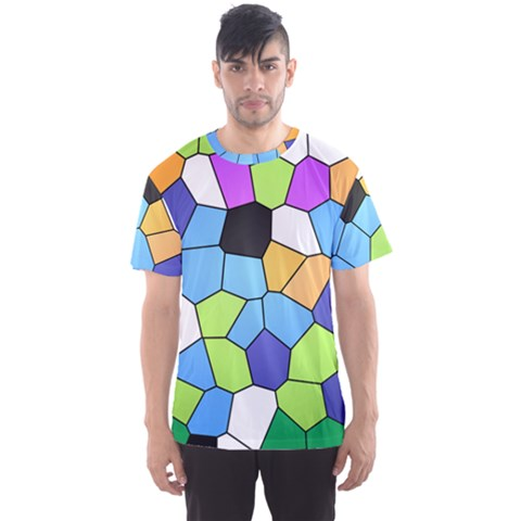 Stained Glass Colourful Pattern Men s Sports Mesh Tee by Mariart