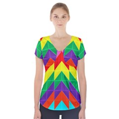 Vibrant Color Pattern Short Sleeve Front Detail Top by Jojostore