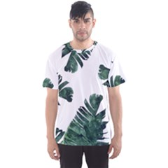 Watercolor Dark Green Banana Leaf Men s Sports Mesh Tee
