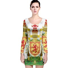 Royal Coat Of Arms Of Kingdom Of Scotland, 1603-1707 Long Sleeve Bodycon Dress by abbeyz71